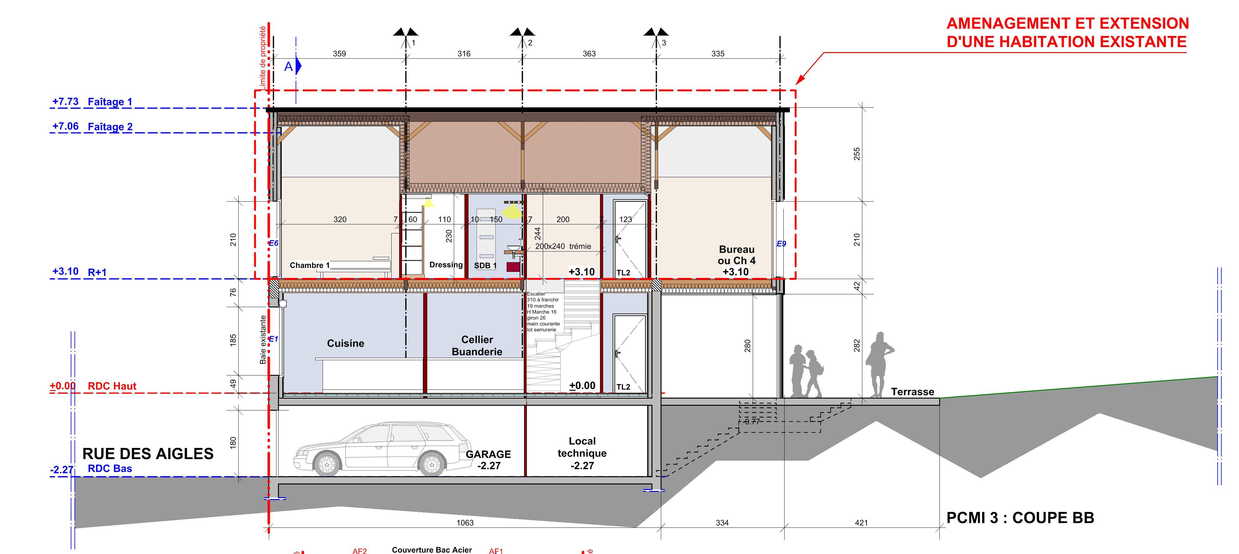 Extension mb bertrand architecte cabinet d 39 architecte - Plan de coupe d une maison ...