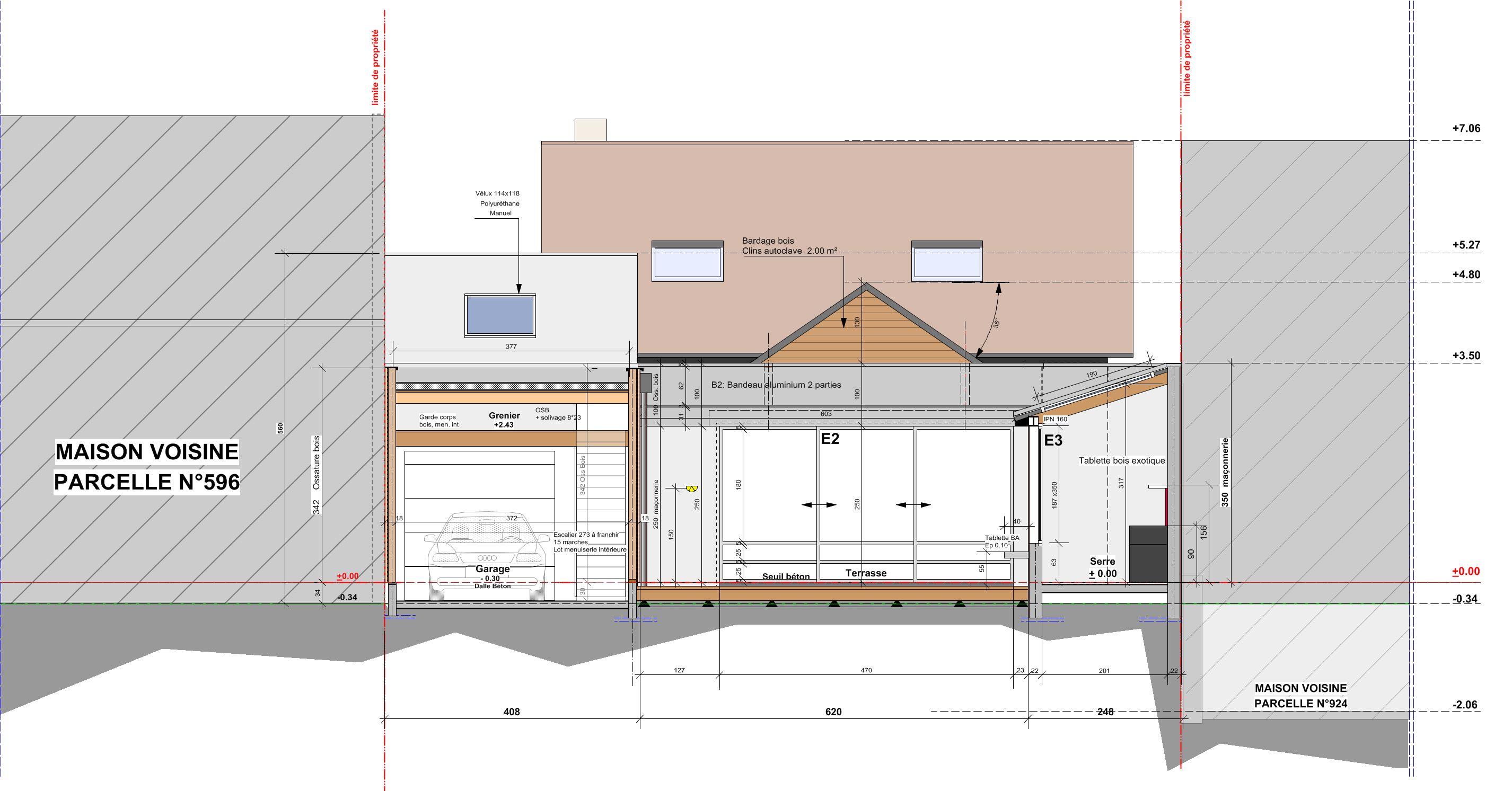 Plan extension maison plan des facades et toitures for Extension maison plan